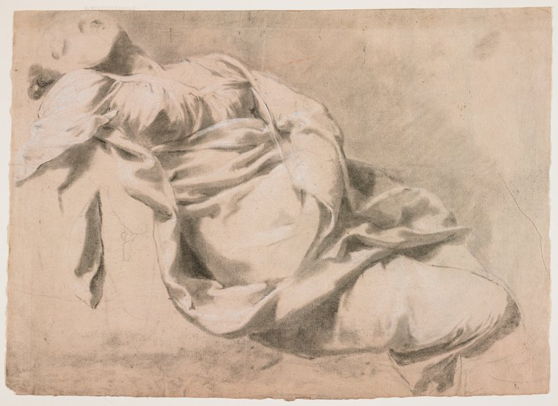 recto: reclining woman, with head bent backwards, eyes closed; PL hand in lap, PR arm hanging down; study of drapery folds on garment; verso: study of PR leg of standing man, with foreshortened foot; PL leg behind, with feet at right angles