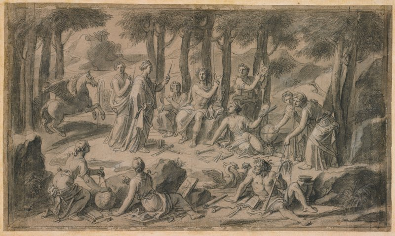 figures in a small clearing; Apollo seated at center, holding a lyre and wearing a draping garment on his lap and a laurel wreath; muses surrounding Apollo roughly in a circle, with their attributes (scrolls, books, globes, calipers, daggers); Pegasus at left; shaggy-haired man seated in LRC, looking back over his shoulder at muses; two birds behind man