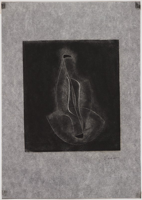 abstract image; printed in black; linear design with football shape at bottom and organic vertical shape at center; printed on thin tissue paper; mounted in front of piece of black paper which is affixted to white coated cardstock