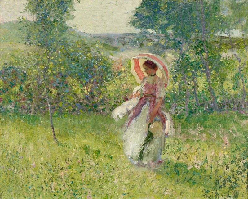 Impressionistic style; woman wearing a pink and white dress holding an unfolded pink and yellow parasol and a hat with a green ribbon in a bright landscape; high horizon line