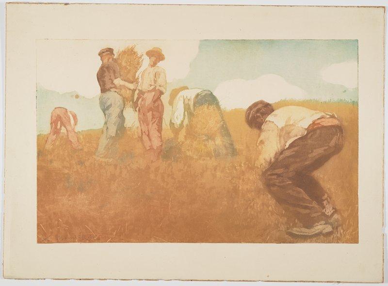 five farmers harvesting grain--two standing, three bending over