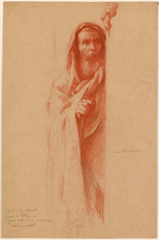 recto: old man with long beard and moustache, wearing a hooded cloak, with his PL arm and part of his body hidden by a wall; verso: study of a nude winged figure with arms up toward right, looking toward left; study of a hand holding a curved baton (?) in ULC
