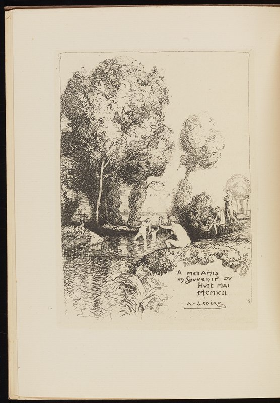 soft cover book with text and two images (a man writing and bathers outdoors); brown cover with text