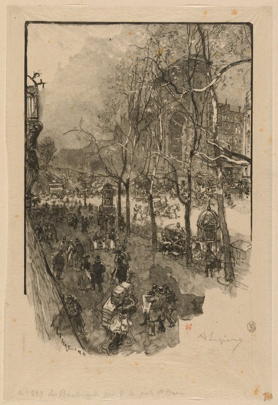 busy city square with many people; carriages at center middle ground; buildings in background at right; bare trees