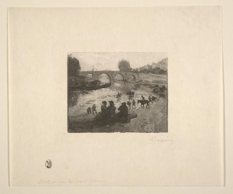 silhouettes of figures seated on log, riding horses and standing and crouching at water's edge; bridge with arches at center middle ground; boat at left