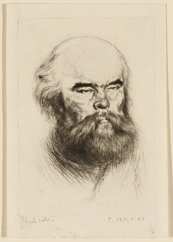 portrait of balding man with heavy dark beard and white hair; thick eyebrows