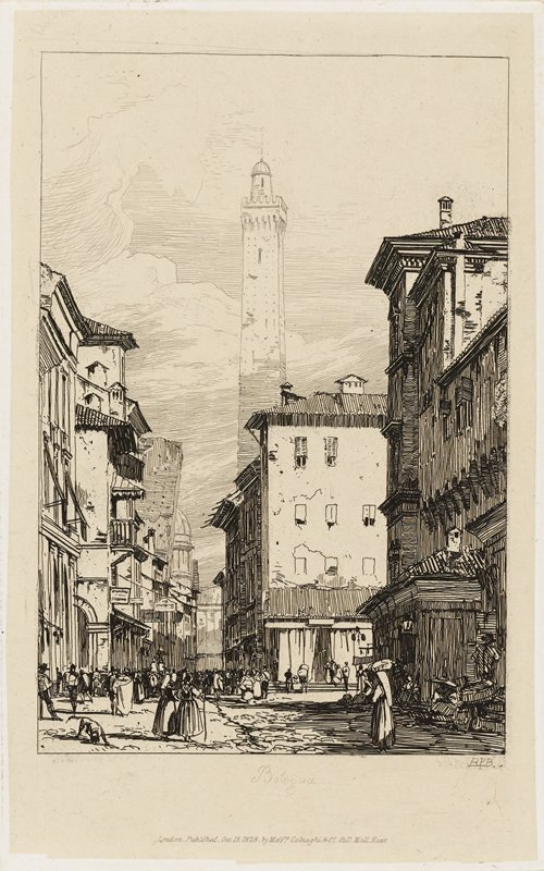 view down a city street with many pedestrians; dog, LLC; tall buildings on either side; tower with domed top at center background