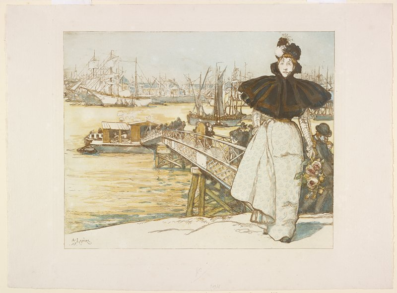 people exiting a boat on a long ramp; woman in foreground at left wearing a short black cape and white dress with blue flowers, carrying a small bouquet of flowers; boats on background on water
