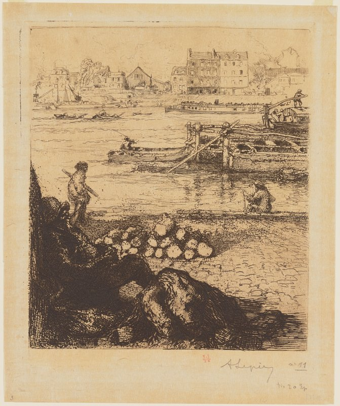 man in LLC resting; walking figure at left in middle ground; figure seated at water's edge at right in middle ground; boats on water; buildings on opposite shore