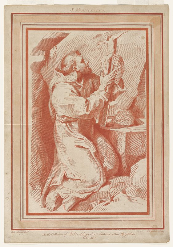 St. Francis kneeling, holding crucifix; red ink on paper