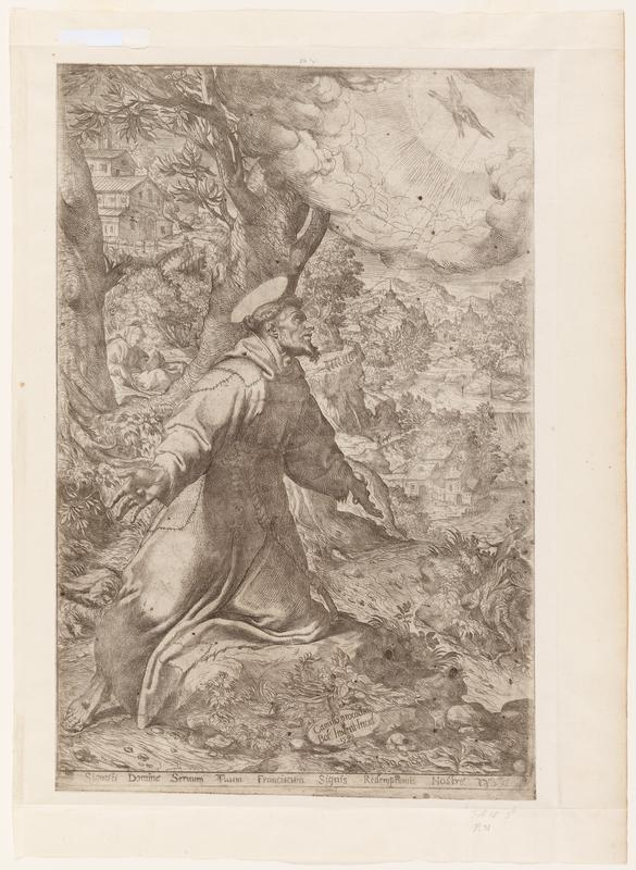St. Francis with beard and halo, kneeling with PL knee on a flat rock, arms outstretched, wearing a patched robe; tiny crucified Christ on X-shaped cross in URC, with dotted lines extending from Christ's nail wounds to Francis' hands and feet; detailed landscape with buildings, trees and road; reading seated figure behind Francis in middle ground