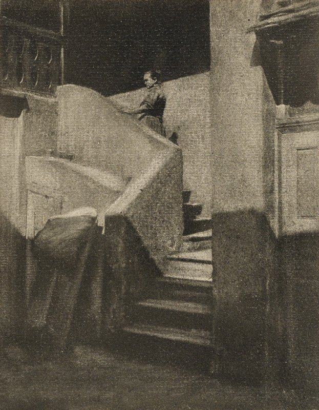 figure ascending staircase with small landing; architectural details at left and ULC; heavily manipulated image appears sketch-like