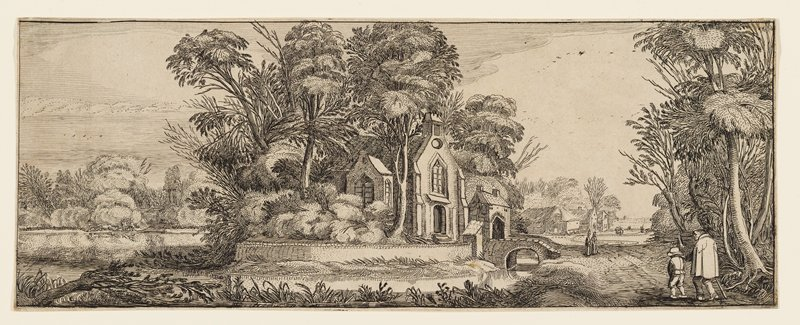 chapel on small island is surrounded by trees; figures at right stroll by