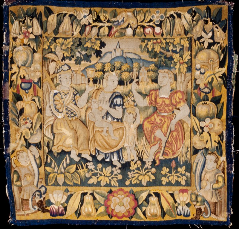 Cushion cover depicting Faith, Charity, and Hope, tapestry, Flemish XVIc cat. card dims W 20-3/4 x L 21-3/4'