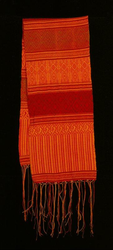 long fringe; orange, red and purple bands; brocade