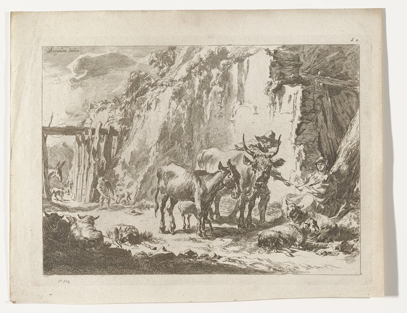 farm yard with sheep, donkey, cow, dogs; woman seated at right holding baby; man standing next to cow gesturing toward woman with PL hand; child left side playing