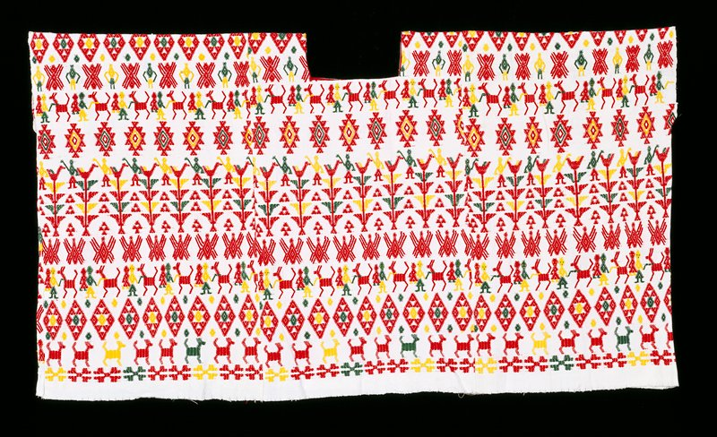 Three panel huipil with square-cut neck opening; White ground cloth with red and yellow supplemental weft patterning; Designs inclued, animals, bird in tree patterns, figures, diamonds.