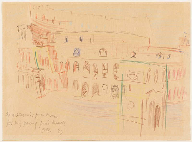 color pencil sketch of Colosseum with Arch of Constantine in LRC foreground; very few details included in sketch; drawn with brown, red, yellow, green, with some blue and white