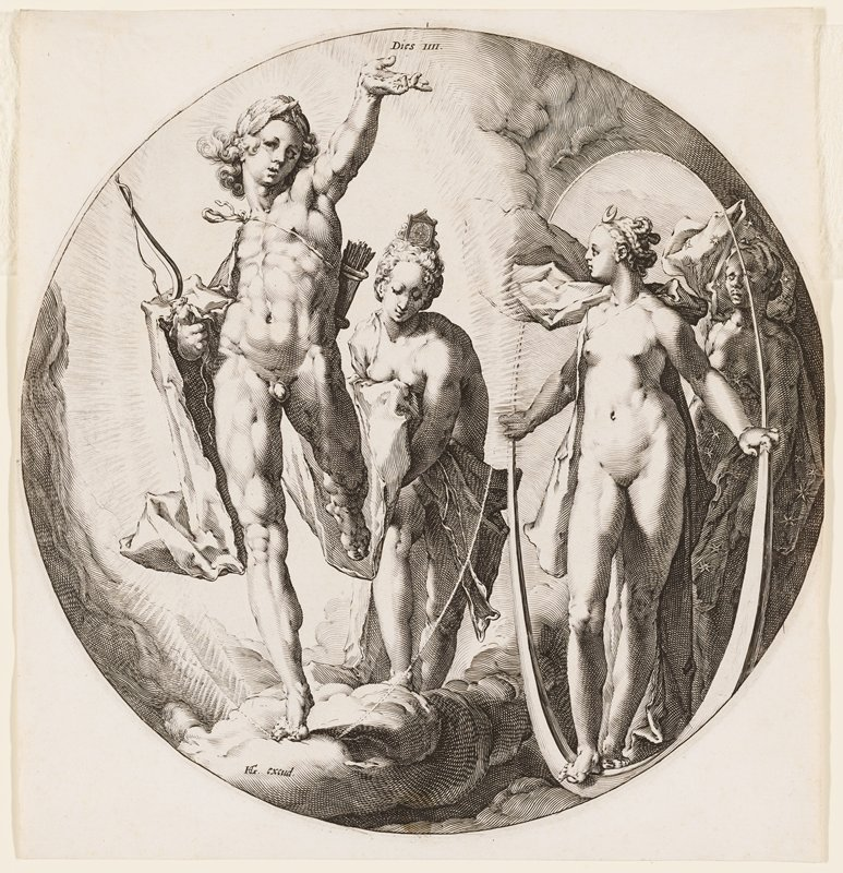 nude male figure with a bow and quiver of arrows and a crown of leaves on L side attended by a woman; woman with crescent in her hair attended by female behind oval shape on R side