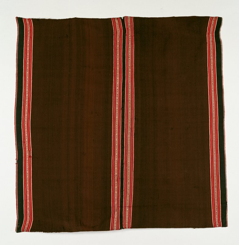 brown/red stripe edges; warp face; plain weave