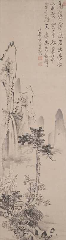 landscape with trees and mountains: cluster of trees, shrubs and rocks at LL with small open structure at center of grouping; taller pine rises toward center; mountains at center with waterfall at L; shorter, grey, cone-shaped mountains at R; inscription at URQ