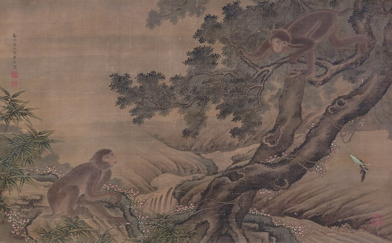 crooked tree with two entangled trunks at center; monkey in branches at UR, another monkey on rock at LL; praying mantis carrying wasp in front claws at R; valley landscape with cascades in background