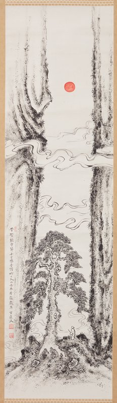 two vertical cliffs along L and R edges; red sun at upper center; lines of wispy clouds across cliffs; gnarled tree at lower center; small, robed human figure carrying staff stands with back to viewer