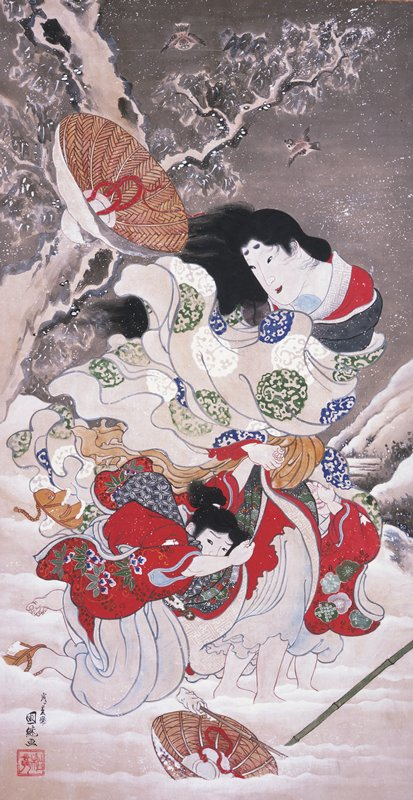 snow scene with woman with two children close to her body, all in very stong winds that are blowing their clothes; the woman's hat has just flown off of her head; another overturned hat at bottom; all are wearing red kimonos