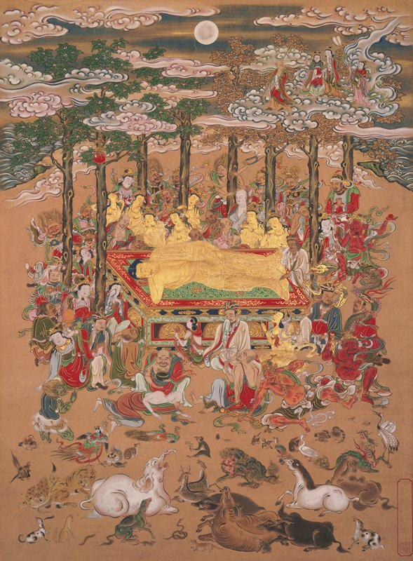 golden Shaka laying his PR side at center of composition; surrounded by trees, human and non-human beings; 7 golden kannon in background, swirling clouds and waves in background; a variety of animals and insects in foreground including heron, owls, ducks, horse, bull, monkey, deer, elephant, centipede, etc.; Buddha's mother in UR corner in clouds with attendants and Jizo