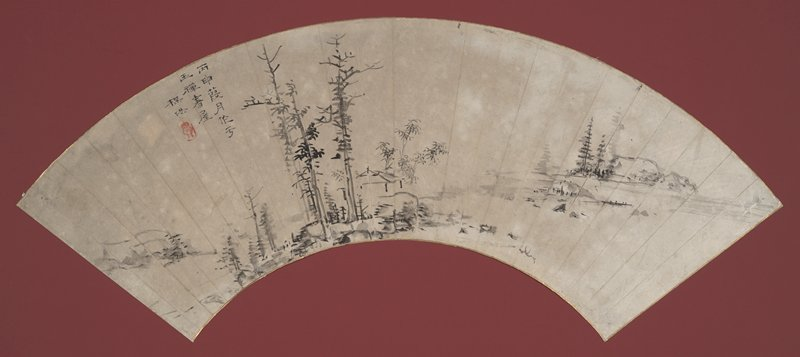 grove of sparse pine trees, rocks, and a low, small hut with bamboo sprigs in background; small rock formation at far L, a few sparse pine trees at bottom; hint of a waterscape at R with boulders, pines, and a rocky shore at R; inscription ULQ; rectangular stamp with rounded edges, gourd-shape inside; mounted to maroon colored mat