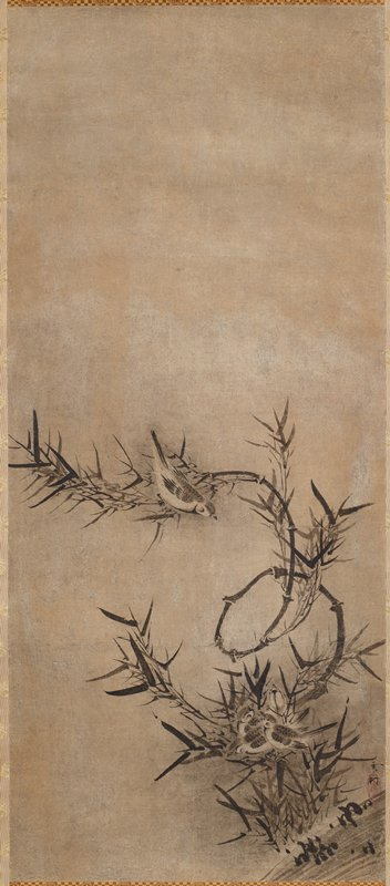 four sparrows huddled together at bottom of composition amidst bamboo stalks and leaves; one of the stalks extend upward and curve, forming an 'o' shape, and then extending towards the middle of the surface; one sparrow is perched on this bamboo stalk right around the center of the composition; the bamboo stalks, leaves, and sparrows are all against a void background; the upper half of the composition is blank