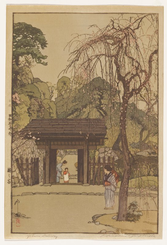 wooden gate in middle ground; woman behind gate attempts to assist young girl in crossing through gate to front; outside, a woman standing near blossoming plum tree at LR, with baby on back, looks on; trees at varying heights in background