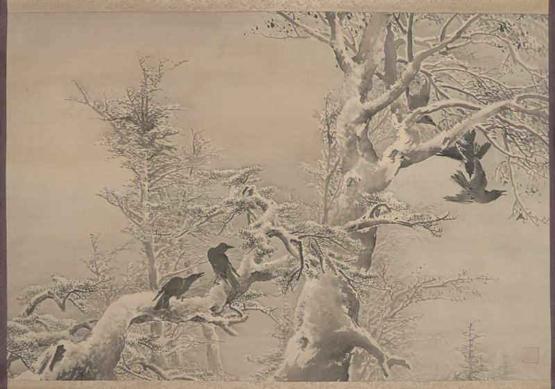 large snow-covered tree at center extending towards UR with black birds perched on branch, two flying off; crooked snow-covered pine branch at LL with two crows; other leafless, snow-covered trees in background