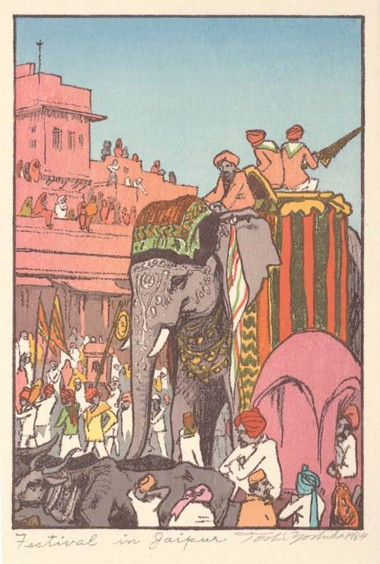 three men wearing orange turbans and shirts seated on an elephant who is adorned with an orange, green and brown scarf on the top of its head, gold necklaces and white scrolling designs on its face; other figures wearing predominately white with bright-colored turbans in foreground and at left behind elephant and on rooftops of salmon-colored building at left; oxen at bottom left