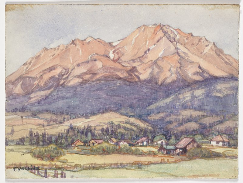 Watercolor, unmounted. mountain village scene: orange and purple mountains dominate the scene in the background; purple, green, and blue hills in middle ground; small houses and barns amongst yellow and green fields in foreground