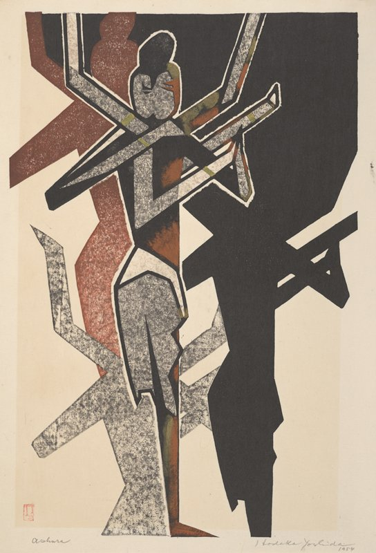 blocky, human-like figure rendered in brown, black, and grey, wearing white skirt stands on one foot; six arms in various positions in the air; black hair in bun on top of head; figure casts three shadows: one large shadow at R in black; shadow above and behind figure in reddish-brown; and smaller shadow behind figure's legs in grey