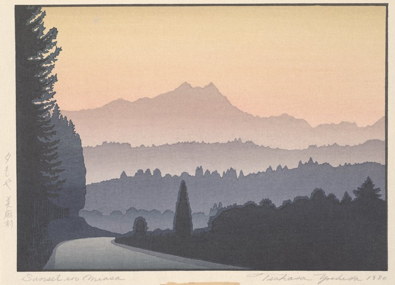 road or river at LL curving into background; dark trees at LL and dark foliage at LR; horizontal bands of silhouetted foliage in middle ground, lightening in hue and saturation towards back; low mountain in background; rendered in pinks, oranges, and blues