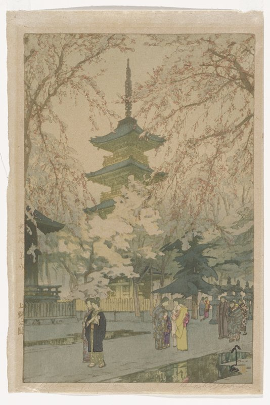 groups of women walk on rainy street; tall pagoda rises at center; blossoming trees dominate the frame; greenish cast to image