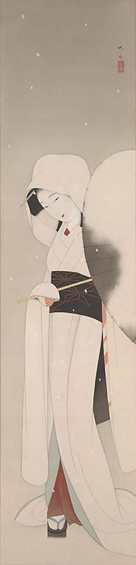 frontal view of woman turned slightly PL with a coy, playful expression; long, white, hooded kimono; black obi with red details; holding a snow-covered parasol that extends across her body to PL; PR foot playfully exposed, with colorful folds of inner dresses revealed; a few white snowflakes fall through the image; painted porcelain roller caps