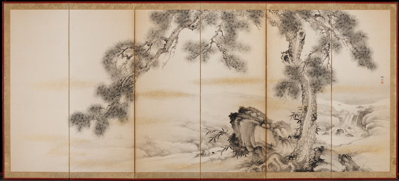 "gnarled pine tree with a small waterfall at right; black ink and wash with ""clouds"" of gold spots"