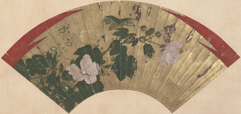 mounted fan painting: pink flowers blossoming amid green foliage at L; tiny blue flowers in background ULQ; gold background with zigzagging red details with butterflies at top L and R