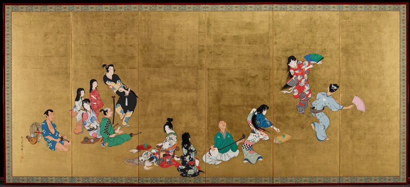 "six-panel folding screen; several groups of figures against gold leaf background; casually clad man sits next to a fabric-wrapped bundle on L; a cluster of five figures follows, two standing girls and a young man leaning in an ""S""-curve on his katana; seated in front of this group is a woman and a man; in foreground are two seated figures, one woman with her dog and a girl with her back turned; blind musician playing shamisen, with broken string held with lips; on far R a group of three dancing figures, two women and a man"