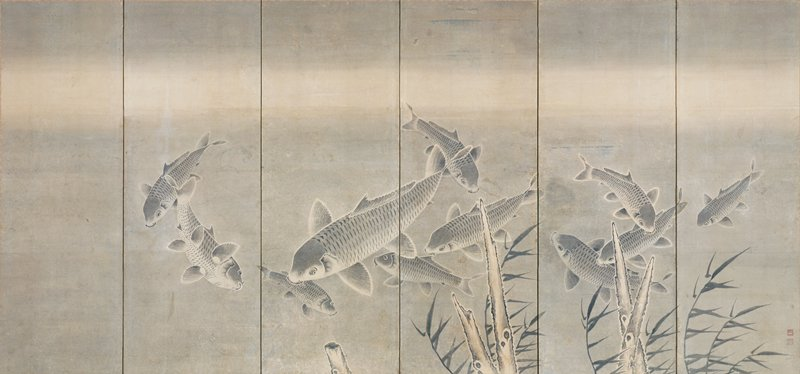 school of carp swimming among seaweed; large fish near center with smaller ones swimming in all directions; driftwood and stumps at bottom