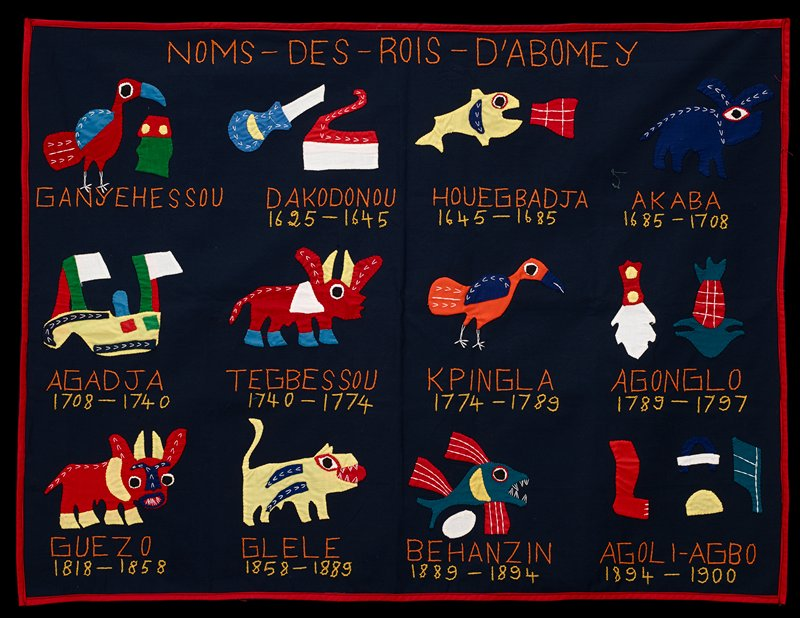 dark blue panel with appliqued and embroidered animals, ship, pineapple and other images; 12 images with names and dates embroidered in orange and yellow below; red trim