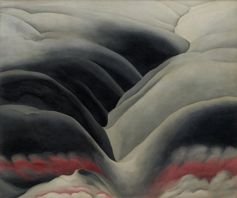 abstract landscape-like imagery; grey, black, and dark pink rolling forms with scalloped cloud-like shapes in foreground