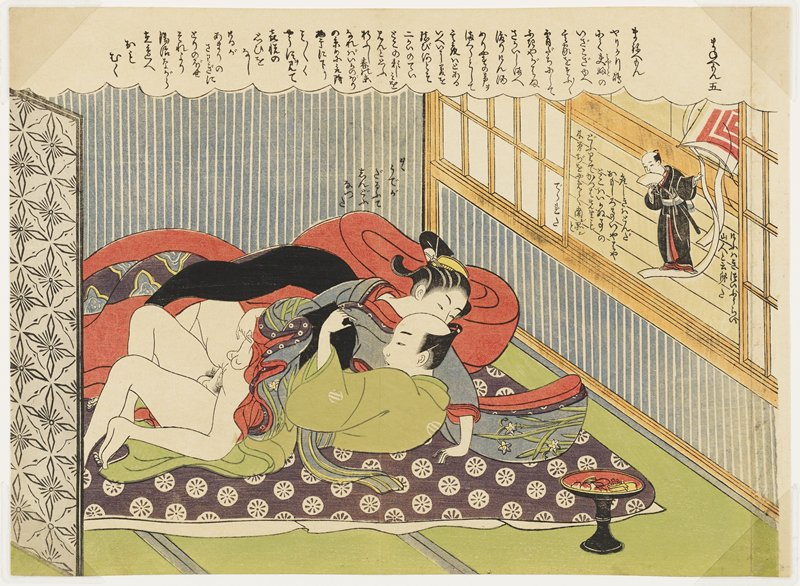 young man dressed as a woman in a blue kimono with white iris decoration lying on top of and engaged in intercourse with a man wearing a green kimono; tiny man wearing a black kimono and holding a fan, with a large white and red kite, on windowsill; text in cloud at top of image, above couple and on either side of small figure on windowsill