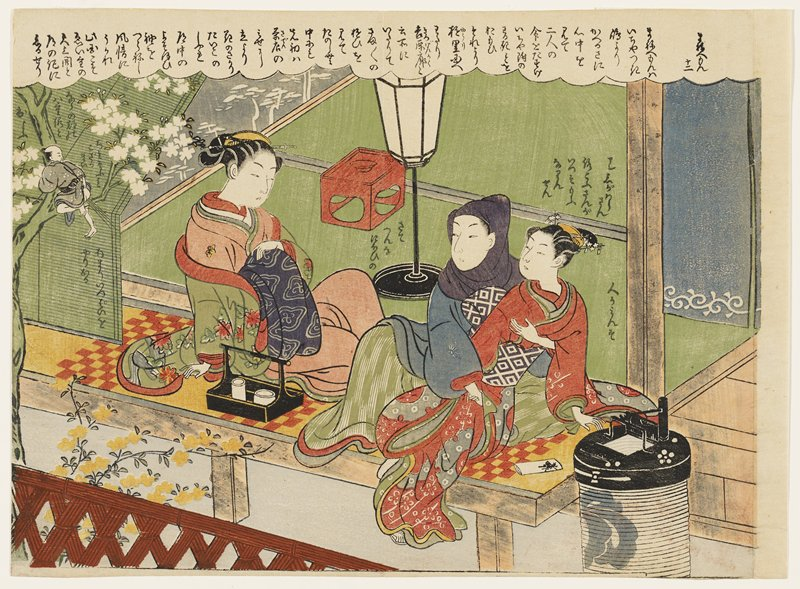 couple at right with man wearing grey cloth over his head, reaching with his PR hand under the folds of young woman's kimono, and holding his PL hand over her breast, while a disapproving older woman at left wearing a green flowered jacket and pink kimono looks on; tiny man wearing grey kimono with white spots seated in a blooming cherry tree in ULQ pulls up the back of his kimono to expose his buttocks while breaking wind; text in cloud at top of image, in ULQ, to right of older woman and above and to right of younger woman