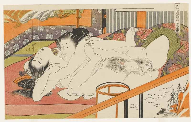 young couple engaged in intercourse; both figures are nude; screen with waterfall, URQ; text above young woman's head