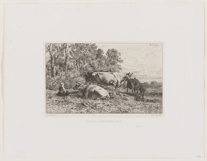 four cows--one drinking from a body of water at right, one lying down left of center--with seated figure at left; trees in background