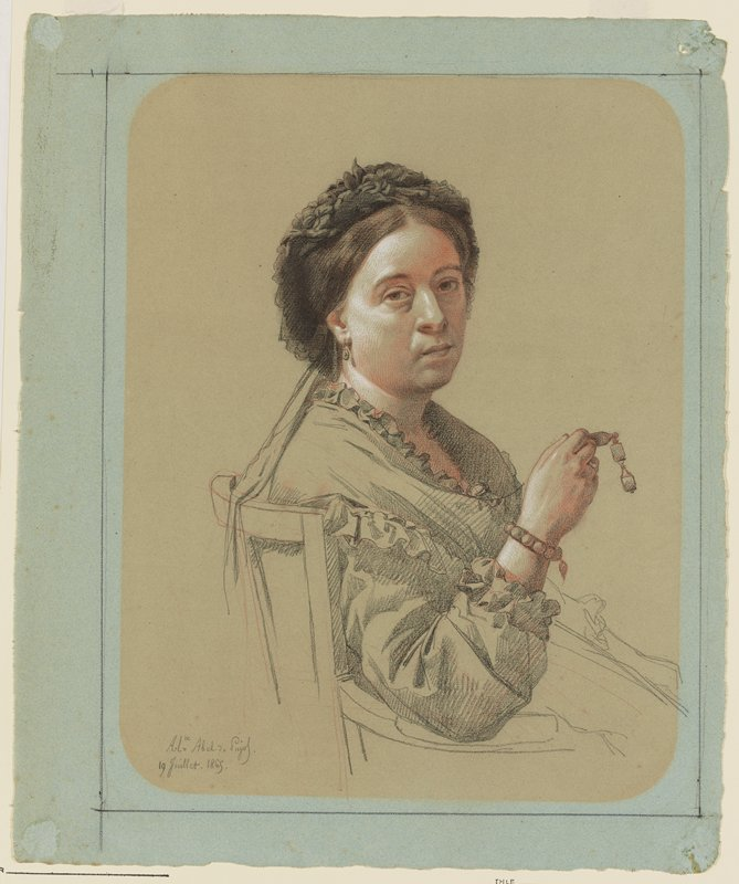 upper body and head of seated woman seen from PR, turned toward the viewer, with her PR elbow resting on the chair arm; woman has brown hair and eyes, with a black bonnet with flowers, and wears a gown with small ruffles, earrings, bracelet, and ring, and holds a small pair of spectacles in her PR hand; tan paper